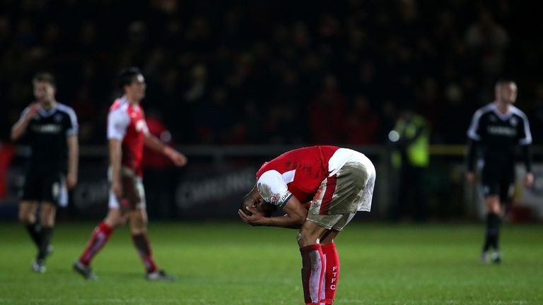 Nathan Pond of Fleetwood Town reacts at the final whistle
