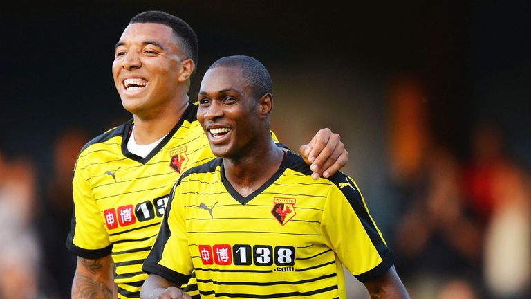 Odion Ighalo (R) and Troy Deeney have formed an impressive partnership at Watford