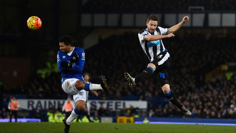 Paul Dummett of Newcastle shoots at goal
