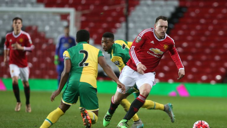 Phil Jones in action with Reece Hall-Johnson of Norwich City U21s