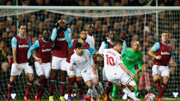 Philippe Coutinho equalised with a clever free-kick