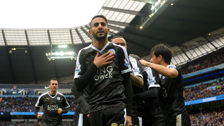 Riyad Mahrez celebrates during Leicester's fine 3-1 win at Manchester City last Saturday