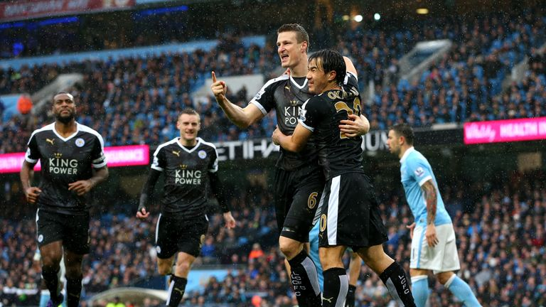 Robert Huth scored Leicester's third in their win over title rivals Manchester City