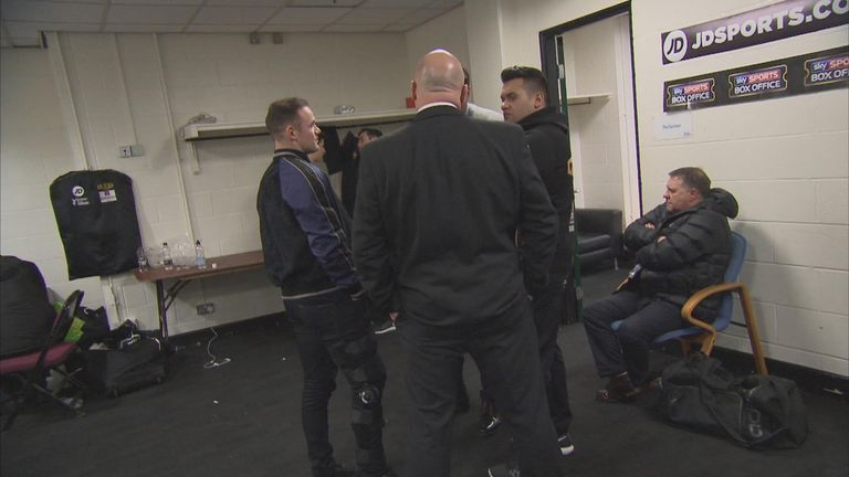 Rooney visits Scott Quigg on Saturday  with his knee braced (Sky Sports Box Office)
