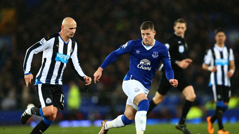 Newcastle midfielder Jonjo Shelvey (left) challenges Ross Barkley in their 3-0 defeat at Goodison Park