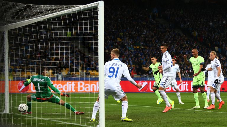 Sergio Aguero (3rd L) scoring for City in the first leg in Kiev