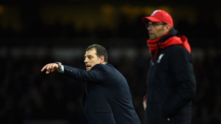 Slaven Bilic and Jurgen Klopp during the mid-week FA Cup tie at Upton Park