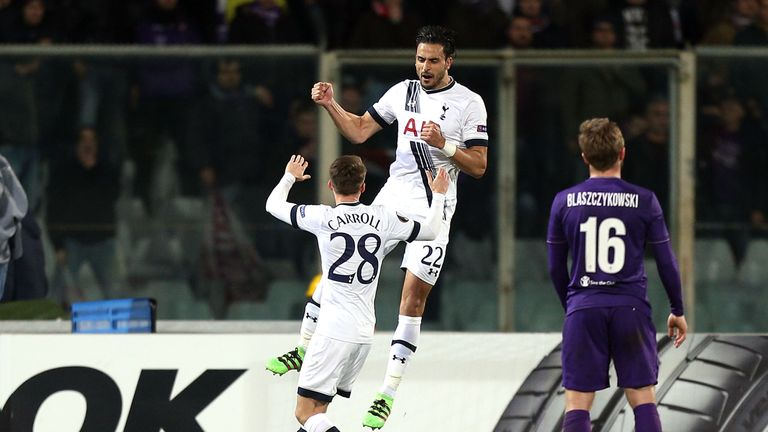 Nacer Chadli celebrates after opening the scoring for Tottenham in Florence