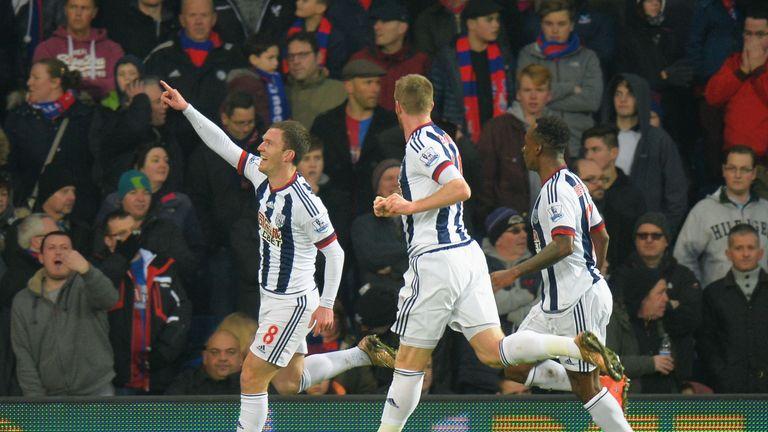 Craig Gardner (L) celebrates scoring the opening goal in the first half