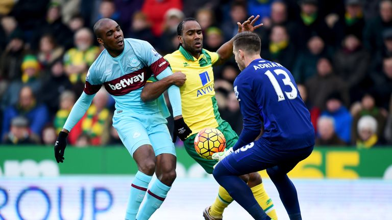 Cameron Jerome of Norwich City is blocked by Angelo Ogbonna Obinza of West Ham United