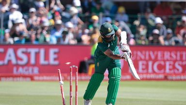 South African batsman Hashim Amla is bowled by England's bowler Reece Topley (not in picture)