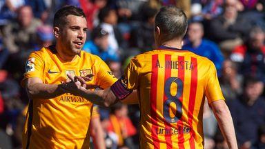 Jordi Alba and Andres Iniesta celebrate opener