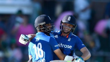 Jos Buttler and Moeen Ali of England celebrate winning the 2nd Momentum ODI between South Africa and England in Port Elizabeth