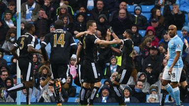 Robert Huth (3rd L) of Leicester City celebrates scoring his team's first goal