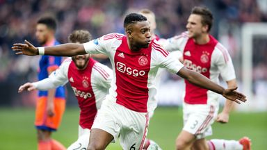 Riechedly Bazoer celebrates scoring for Ajax