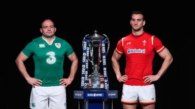 Rory Best, captain of Ireland and Sam Warburton, captain of Wales pose with the RBS 6 Nations trophy
