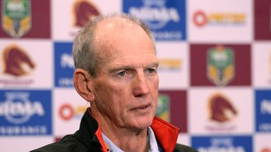 Brisbane Broncos coach Wayne Bennett talks at a post match press conference