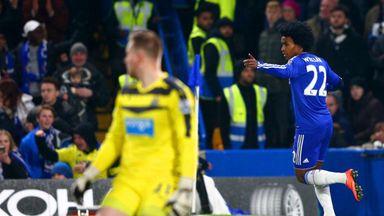 Willian of Chelsea celebrates scoring his team's third goal