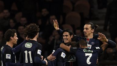 Zlatan Ibrahimovic (R) scored twice in the win over Lyon