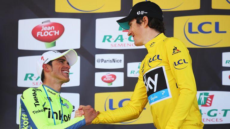 Alberto Contador congratulates Thomas on his victory
