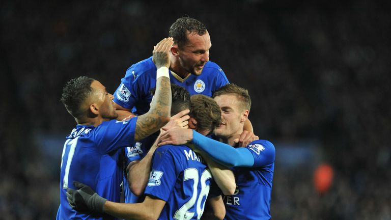 Andy King celebrates after putting Leicester 2-1 up against West Brom