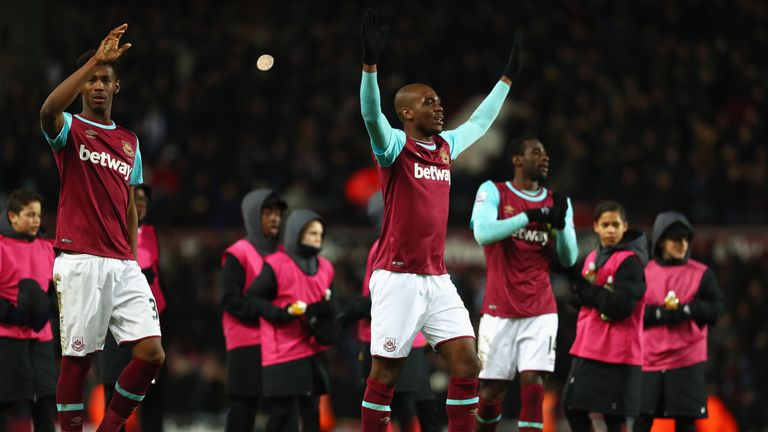 Angelo Ogbonna (C) needed an ice pack on his foot after the Hammers' 1-0 win