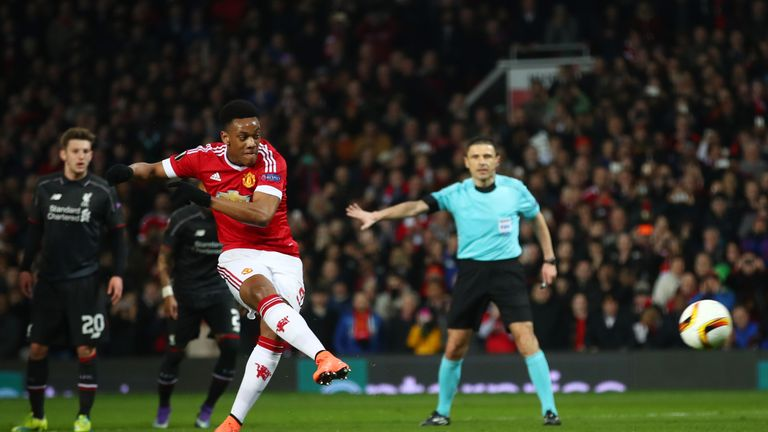 Anthony Martial scores from the penalty spot, but Manchester United were knocked out of the Europa League