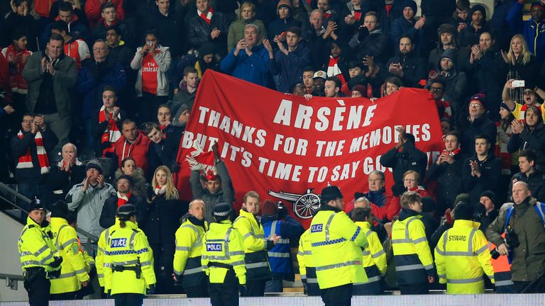A banner calling for Wenger to go is held up during an FA Cup match in February