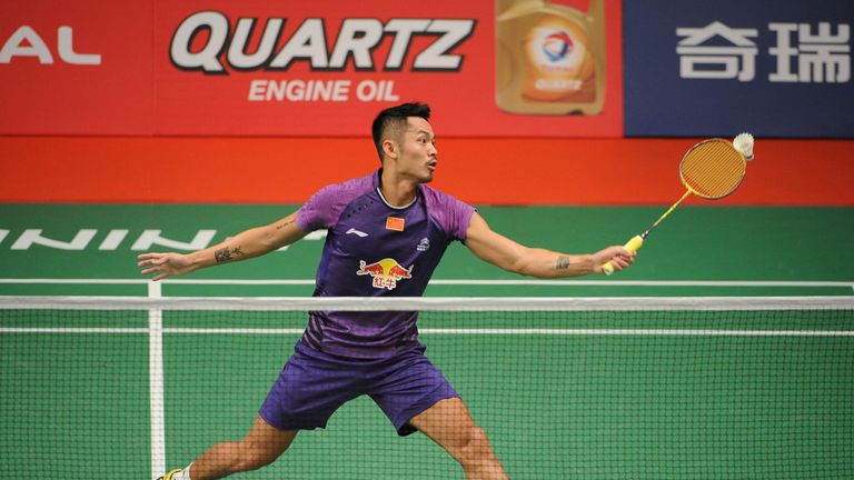 Lin Dan of China competes against Sattawat Pongnairat of USA in the 2015 Total BWF World Championship