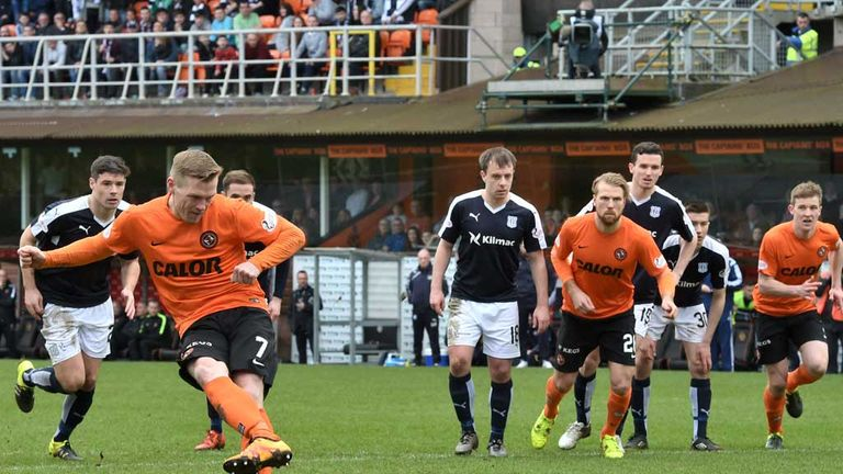 McKay fires in the penalty that made it 1-2 at Tannadice