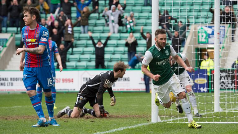 James Keatings wheels away after opening the scoring for Hibs