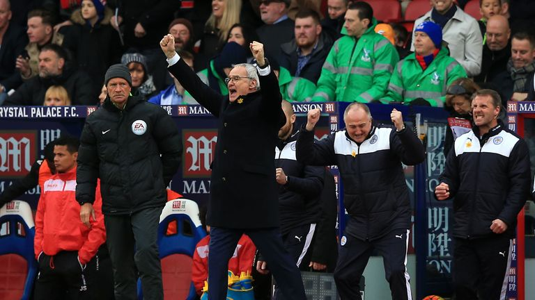 Claudio Ranieri celebrates victory at Selhurst Park