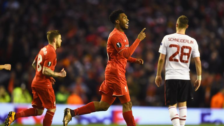 Daniel Sturridge celebrates Liverpool's opener from the penalty spot in the 20th minute