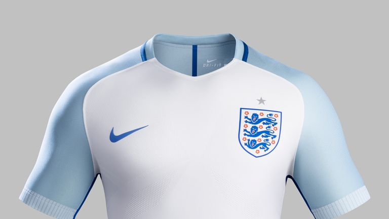 England's new home shirt features light blue shoulder panels
