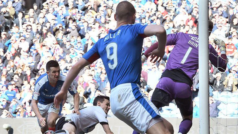 Jason Holt doubles the lead for Rangers just after half-time at Ibrox