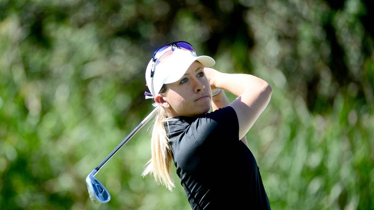 Jodi Ewart Shadoff tees off at the third hole during round one of the KIA Classic