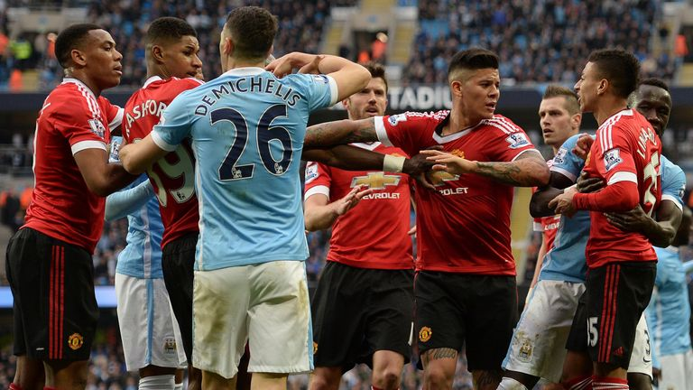 Manchester United and Manchester City clash after Rashford's penalty appeal