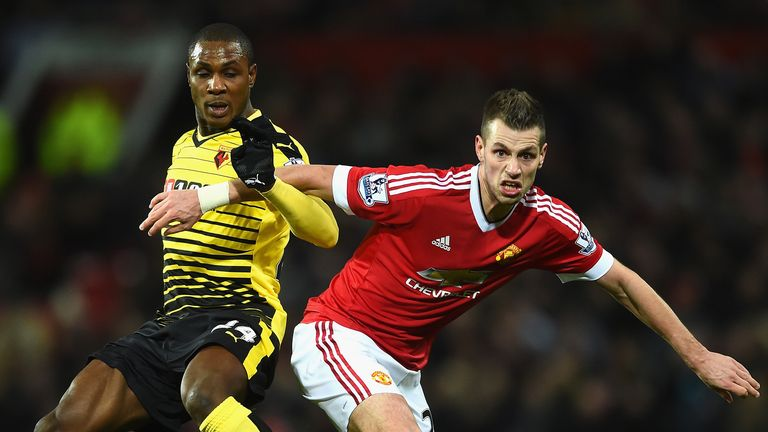 Odion Ighalo of Watford challenges Morgan Schneiderlin of Manchester United