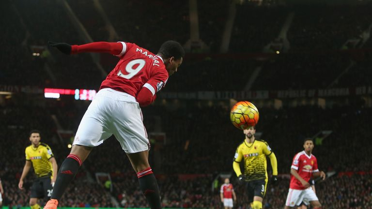 Manchester United's Anthony Martial has a header on goal against Watford