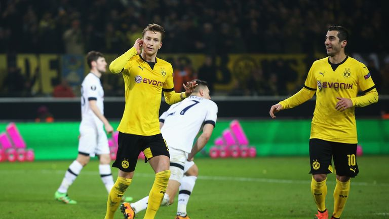Marco Reus celebrates after scoring for Borussia Dortmund