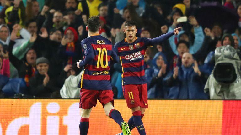 Neymar celebrates scoring Barcelona's opener at the Nou Camp