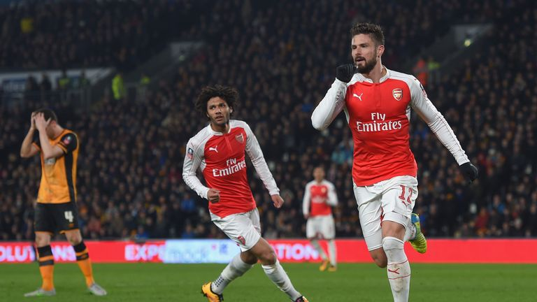 Olivier Giroud of Arsenal celebrates scoring the opening goal