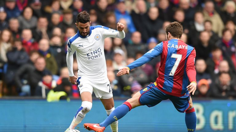 Mahrez (left) tries to get away from Yohan Cabaye