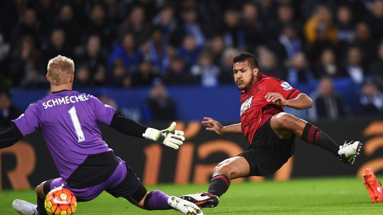 Salomon Rondon slips the ball under Leicester goalkeeper Kasper Schmeichel to put West Brom 1-0 up