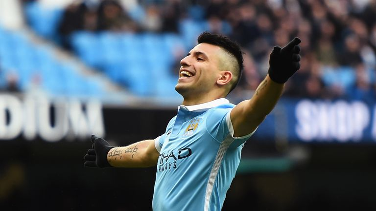 Sergio Aguero celebrates scoring his team's second goal