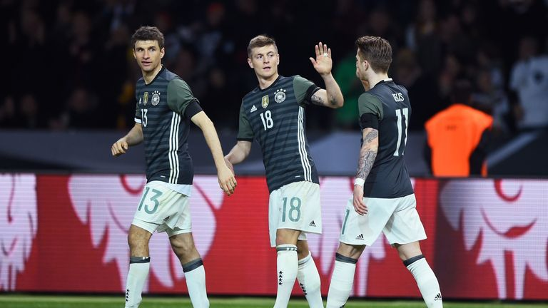 Toni Kroos (centre) scored Germany's opening goal