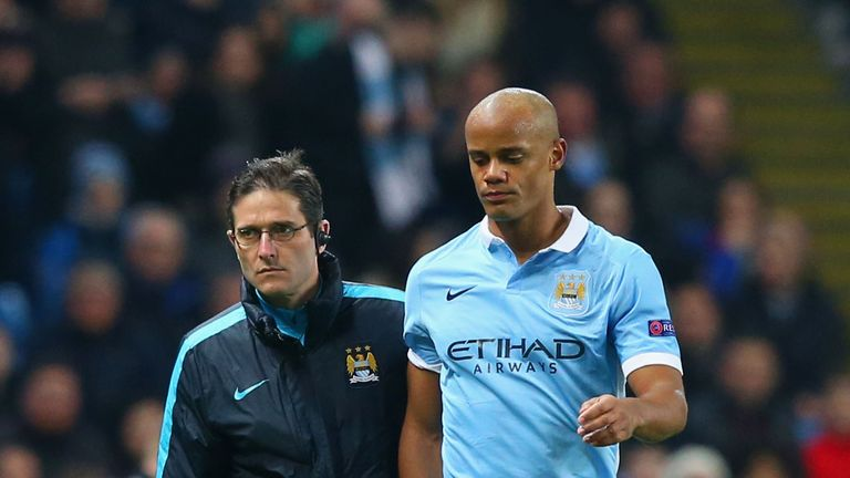 Vincent Kompany will be out for a month with a calf injury