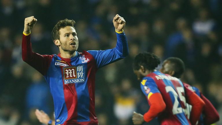 Yohan Cabaye celebrates his goal for Crystal Palace in the 86th minute