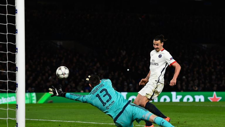 Ibrahimovic volleys past Thibaut Courtois to book PSG's place in the next round