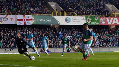 Northern Ireland's Conor Washington takes a shot on goal during an International Friendly at Windsor Park, Belfast